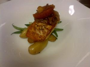 Salmon with Fingerling Potatoes and Citrus Onion Marmalade