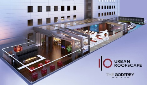 A rendering of I|O Urban Roofscape featuring an outdoor fire pit.