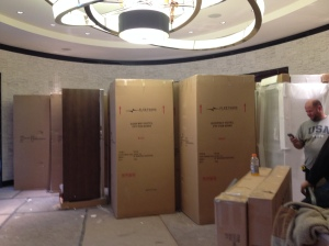 Boxes holding mirrored wardrobes and queen-sized headboards were delivered to the lobby this week.