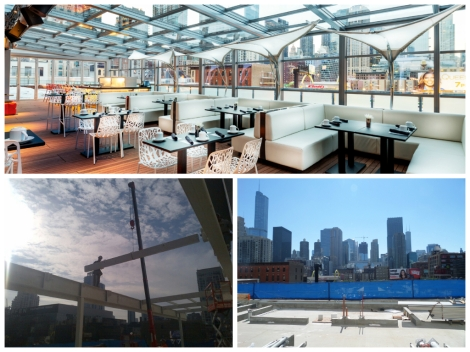 #ThrowbackThursday - A look at how I|O Urban Roofscape evolved from a blank canvas to Chicago's rooftop lounge with a retractable roof, fire pit and shimmering water elements.