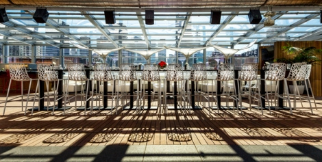 Outdoor event seating at I|O Urban Roofscape.
