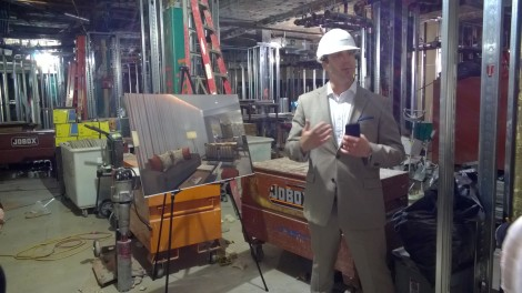 Larry Casillo, GM of The Godfrey Hotel Boston during the Media Hard Hat Tour.
