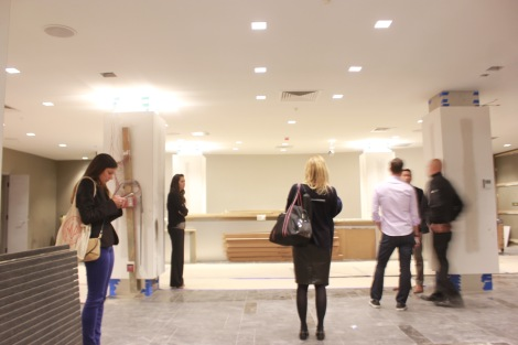 The group exploring the front lobby